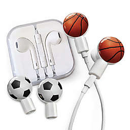 dekaSlides Earbuds with Basketball and Soccer Ball Slide-On Graphics Set in White