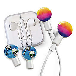 dekaSlides Earbuds with Watercolor Sunset and Tropical Skull Slide-On Graphics Set in White