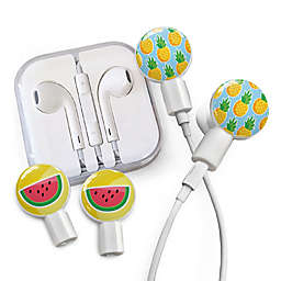 dekaSlides Earbuds with Pineapples and Watermelon Slide-On Graphics Set in White