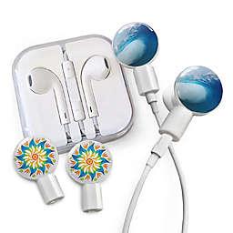 dekaSlides Earbuds with Tubular Wave and Mandala Flower Slide-On Graphics Set in White