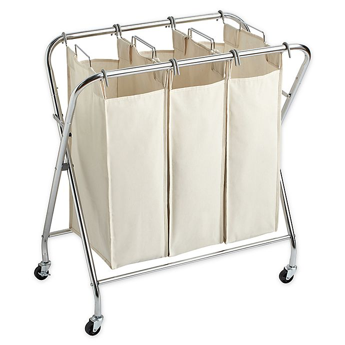Alternate image 1 for Real Simple® X Frame Triple Laundry Sorter in Chrome