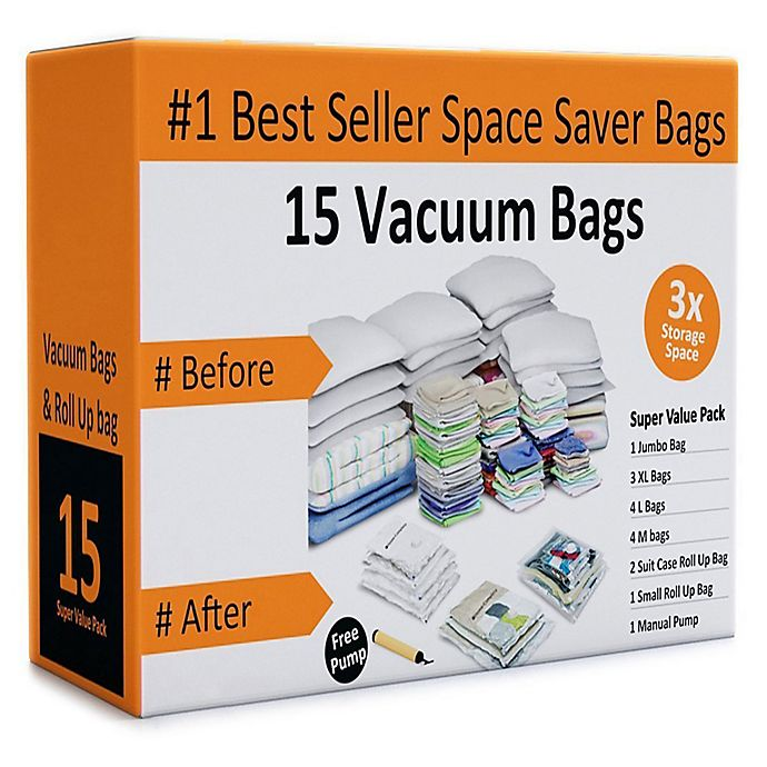 Alternate image 1 for Everyday Home 16-Piece Vacuum Storage Bag Set in White