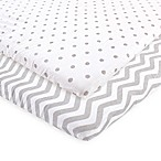 Luvable Friends® 2-Pack Chevron and Dots Fitted Playard Sheets in Grey