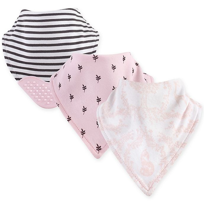 Alternate image 1 for Yoga Sprout 3-Pack Lace Garden Bandana Bib With Teether in Pink