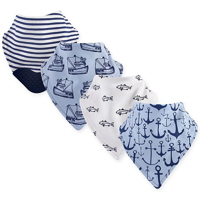 Alternate image 1 for Yoga Sprout 4-Pack Anchor Bandana Bib With Teether in Blue