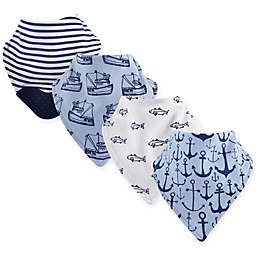 Yoga Sprout 4-Pack Anchor Bandana Bib With Teether in Blue