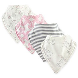 Touched by Nature 4-Pack Bird Bandana Bibs in Pink