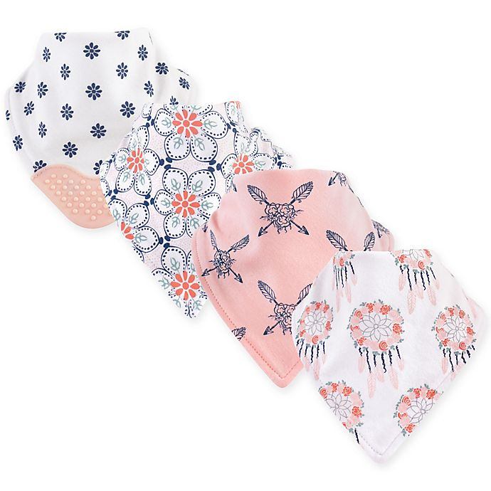 Alternate image 1 for Yoga Sprout 4-Pack Dream Catcher Bandana Bib With Teether in Pink