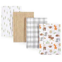 Hudson Baby 4-Pack Woodland Burp Cloth Set in Beige