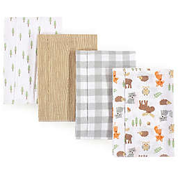 Hudson Baby 4-Pack Woodland Burp Cloth Set in Beige