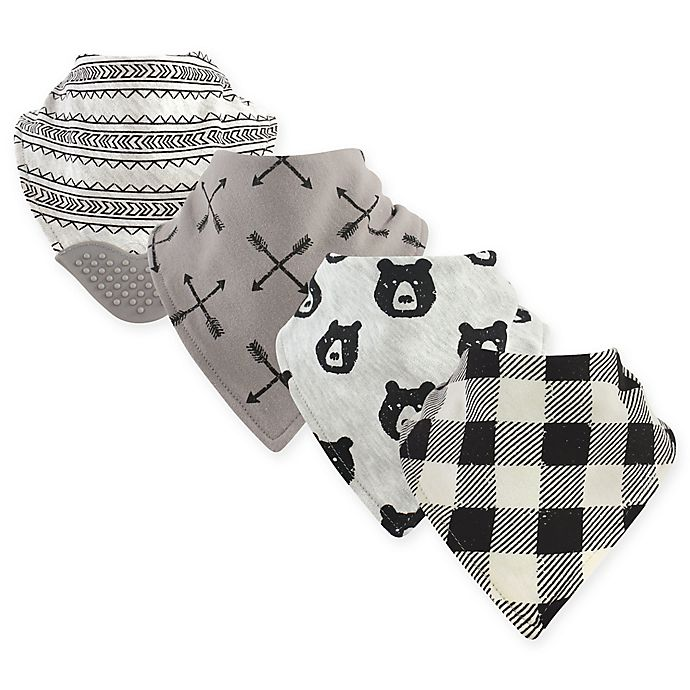 Alternate image 1 for Yoga Sprout 4-Pack Bear Hugs Bandana Bib With Teether in Black