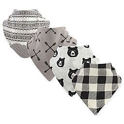 Yoga Sprout 4-Pack Bear Hugs Bandana Bib With Teether in Black