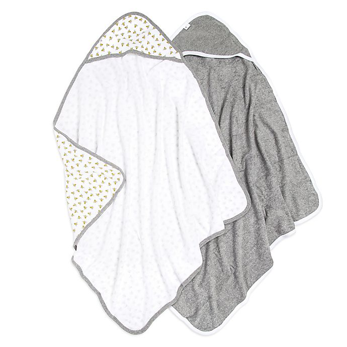 Alternate image 1 for Burt's Bees Baby® 2-Pack Hooded Towels in Cloud