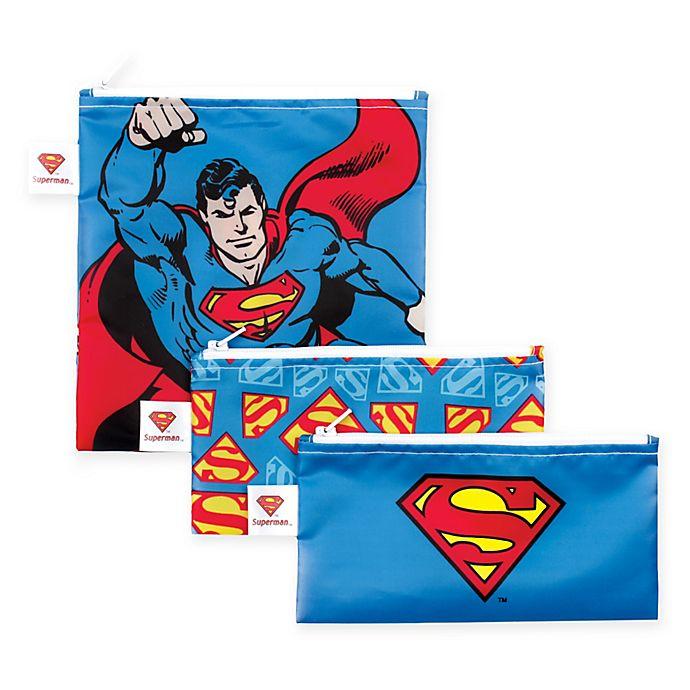 Alternate image 1 for Bumkins® DC Comics™ Superman 3-Piece Reusable Snack Bags Set