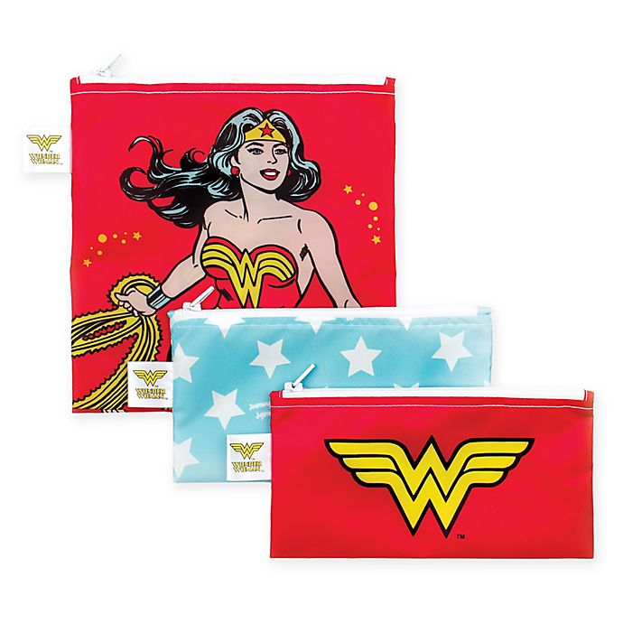 Alternate image 1 for Bumkins® DC Comics™ Wonder Woman 3-Piece Reusable Snack Bags Set