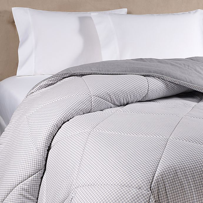 Alternate image 1 for The Seasons Collection® HomeGrown™ Ticking Stripe Flannel King Comforter in Light Grey