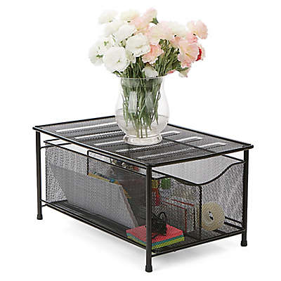 Minder Reader Storage Basket with Sliding Drawer in Black
