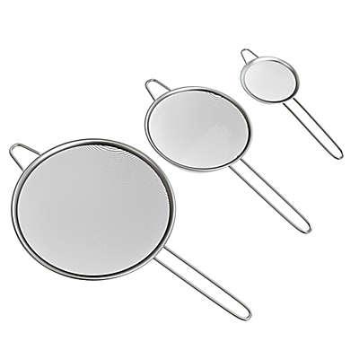 Classic Cuisine 3-Piece Stainless Steel Fine Mesh Strainer Set