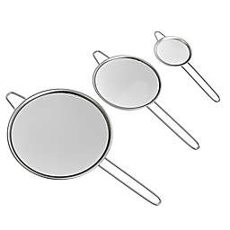 Classic Cuisine 3-Piece Stainless Steel Fine Mesh Strainer Set