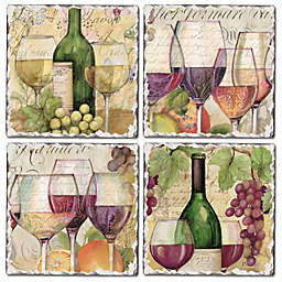 CounterArt® 4-Piece Wine Country Square Coaster Set