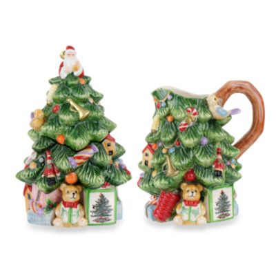 Spode® Christmas Tree Sculpted Sugar and Creamer | Bed ...