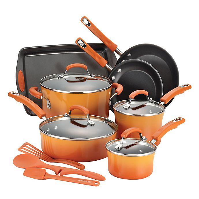 Alternate image 1 for Rachael Ray™ Classic Brights Nonstick Porcelain Enamel 14-Piece Cookware Set in Orange
