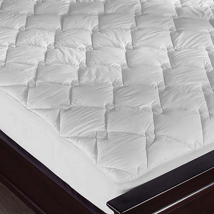 Puredown Diamond Quilted Mattress Pad in White | Bed Bath ...
