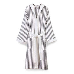 9397bcf665 Linum Home Textiles Alev Turkish Cotton Striped Hooded Bathrobe