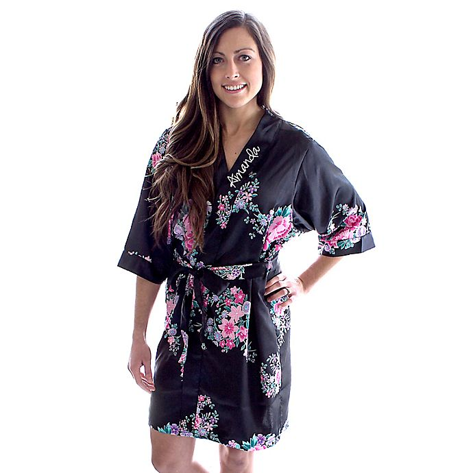 Alternate image 1 for Cathy's Concepts Floral Satin Robe