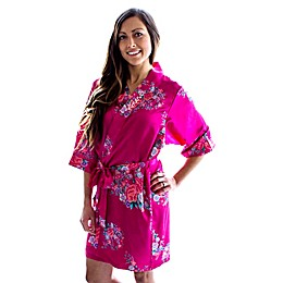 Cathy's Concepts Floral Satin Robe