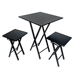 3-Piece Folding Dining Set in Black