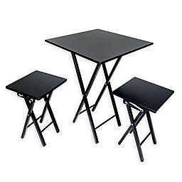 3-Piece Folding Dining Set in Black