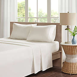 Madison Park 200-Thread-Count Peached Percale Cotton California King Sheet Set in Ivory