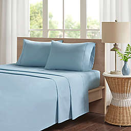 Madison Park 200-Thread-Count Peached Percale Cotton California King Sheet Set in Teal