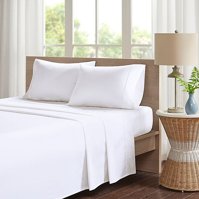 Alternate image 1 for Madison Park Peached Percale Cotton Queen Sheet Set in White