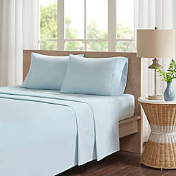 Madison Park 200-Thread-Count Peached Percale Cotton Twin Sheet Set in Aqua