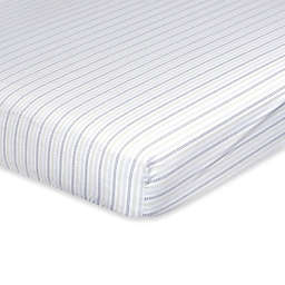 Just Born® Dream Broken Stripe Fitted Crib Sheet in Taupe/Grey