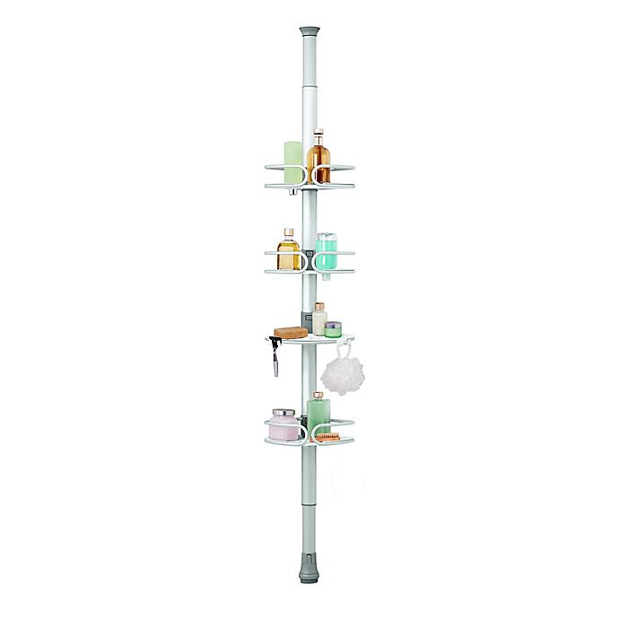 Alternate image 1 for OXO 4-Tier Anodized Aluminum Tension Pole Shower Caddy