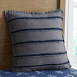 Bridgeport Frayed Edge Square Throw Pillow in Grey