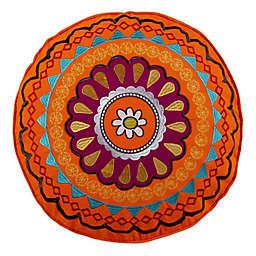 Levtex Home Phoenix Round Embroidered Throw Pillow in Orange