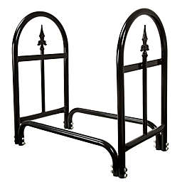 Pure Garden Fireplace Log Rack with Finials in Black