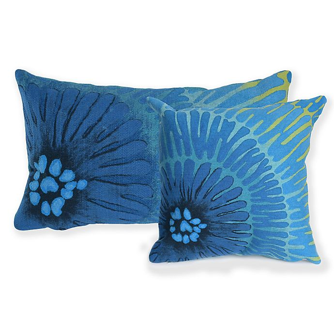 Alternate image 1 for Liora Manne Visions Floral Indoor/Outdoor Throw Pillow in Blue