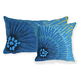 Liora Manne Visions Floral Indoor/Outdoor Throw Pillow in Blue
