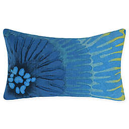 Liora Manne Visions Floral Oblong Indoor/Outdoor Throw Pillow in Blue