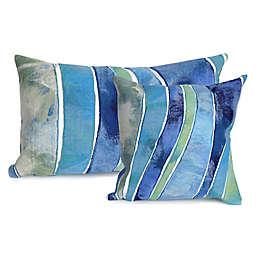 Liora Manne Visions Ocean Waves Indoor/Outdoor Throw Pillow in Blue