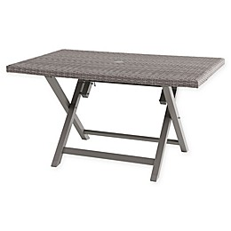 Barrington All-Weather Wicker Folding Table in Oyster