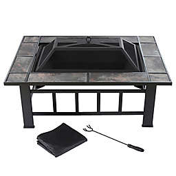 Pure Garden Wood Burning 37-Inch Marble Tile Rectangular Fire Pit in Black