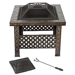 Pure Garden Wood Burning 26-Inch Woven Metal Square Fire Pit in Black