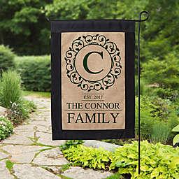 Circle & Vine Monogram Burlap Garden Flag