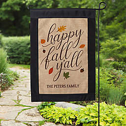 Happy Fall Y'All Burlap Garden Flag